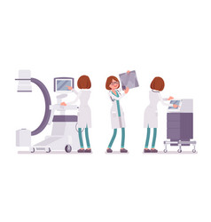 Female doctor x-raying vector