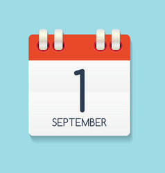 flat calendar icon of 1 september vector image