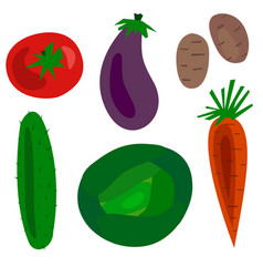Flat cartoon vegetables set vector