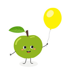 funny cartoon apple with balloon vector image