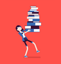girl holding pile of books vector image