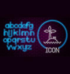 Glowing neon line tropical island in ocean icon vector