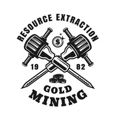 gold mining emblem with crossed jackhammers vector image