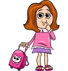 Grade school girl cartoon vector