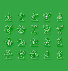 grass simple paper cut icons set vector image