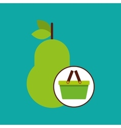 Green basket fresh pear design icon vector