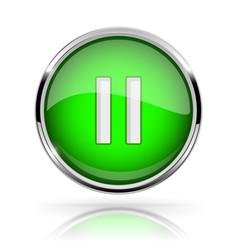 Green round media button pause button shiny icon vector