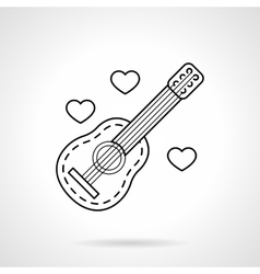 Guitar and hearts black flat line icon vector image