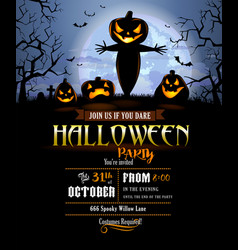 halloween party invitation with terrible pumpkins vector image