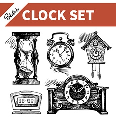 Hand drawn sketch set of clocks and watches vector