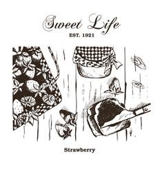 Hand drawn vintage strawberry set vector