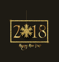 Happy new year background with glittery snowflake vector