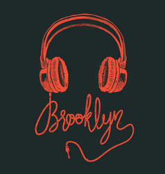 Headphone brooklyn hand drawing grunge vector