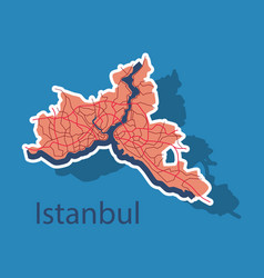 High quality map of istanbul sticker with borders vector