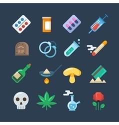 Illegal drug tablets alcohol addiction vector