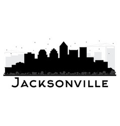 Jacksonville city skyline black and white vector