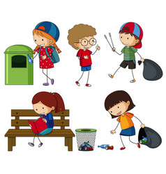 Kids cleaning up the trash vector