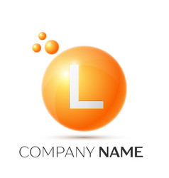 l letter splash orange dots and circle bubble vector image