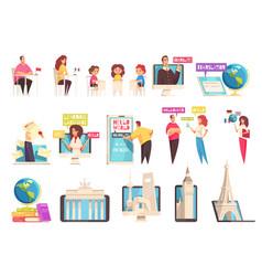 Learning language training center icon set vector