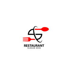 Letter s logo with fork spoon eat logo cafe vector