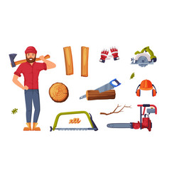 man lumberjack in red shirt and wood chopping vector image