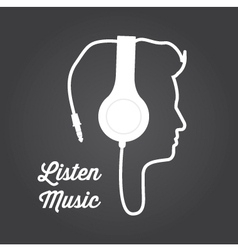 man profile silhouette with headphone music vector image