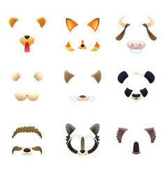 Masks of funny animals ears and nose vector
