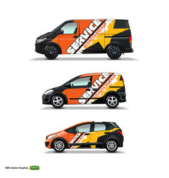 Mocup set with advertisement on black car cargo vector