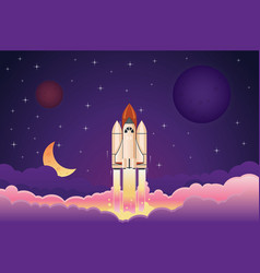 modern space rocket flying up over clouds against vector image