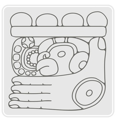 Monochrome icon with glyph of the Maya Night Lord vector