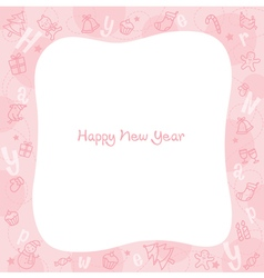 New Year Decoration Outline Icons Border vector image