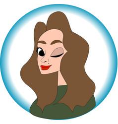 nice girl portrait in cartoon style vector image