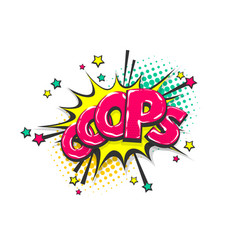 omg ouch oops pop art comic text speech bubble vector image