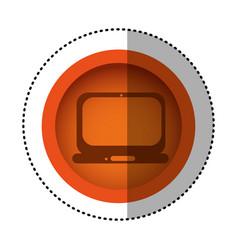 Orange round symbol technology laptop service icon vector