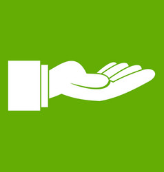 Outstretched hand gesture icon green vector