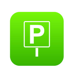 parking sign icon digital green vector image