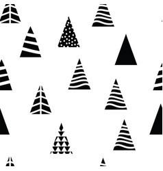 pattern christmas trees triangular shape on white vector image