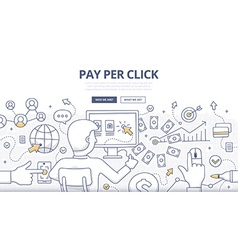 Pay Per Click Doodle Concept vector image vector image