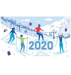 people outdoor activity on mountain ski resort vector image