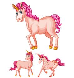pink unicorns on white background vector image