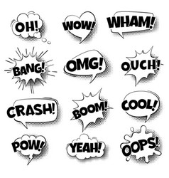 pop art comic speech bubbles retro cartoon vector image