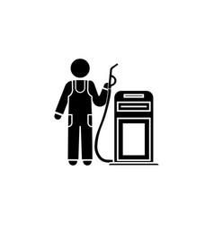 refueling worker icon refueller icon black vector image