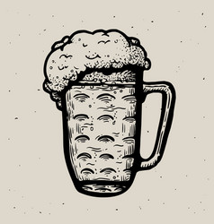 Retro style beer mug or glass engraving local vector