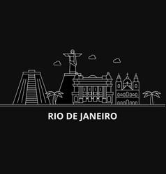 rio de janeiro silhouette skyline brazil - rio de vector image