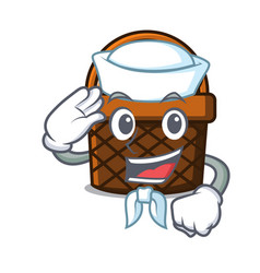 Sailor bread basket character cartoon vector