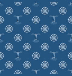 seamless blue maritime pattern vector image