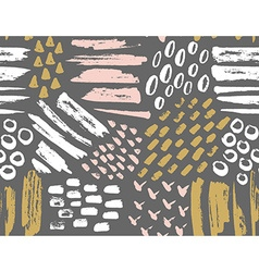 seamless pattern of painted ink textures Set of vector image