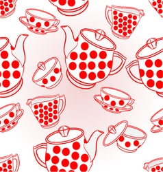 Seamless texture tea service with red dots vector image