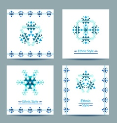 Set of four white square cards with ethnic design vector image