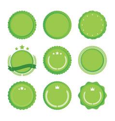 set of green emblems vector image
